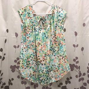 Lauren Conrad floral pleated blouse